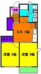 静岡県磐田市明ケ島原の賃貸アパートの間取り