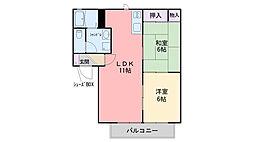 フルーレ秋桜[102号室]の間取り