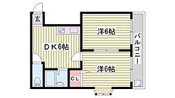 JR東海道・山陽本線 西明石駅 徒歩8分の賃貸マンション 5階2DKの間取り