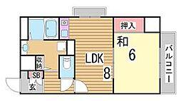兵庫県神戸市中央区下山手通8丁目の賃貸マンションの間取り