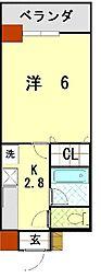bloom長田 8階1Kの間取り