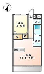 愛知県稲沢市下津北山2丁目の賃貸マンションの間取り