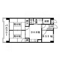 福岡県北九州市八幡西区御開3丁目の賃貸マンションの間取り