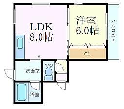 兵庫県西宮市松生町の賃貸マンションの間取り