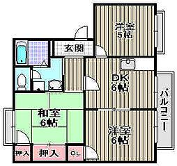 大阪府和泉市富秋町2丁目の賃貸アパートの間取り