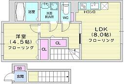 JR仙山線 東北福祉大前駅 徒歩7分の賃貸アパート 2階1LDKの間取り