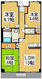 ラフィネ武蔵野[4階]の間取り