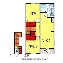 モリハイツB[2階]の間取り