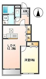 ロ−レル[1階]の間取り