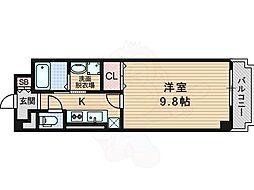 サニーヴィラ 2階1Kの間取り