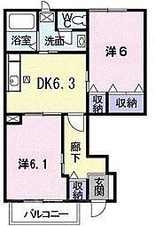 広島県広島市安芸区畑賀2丁目の賃貸アパートの間取り
