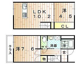 福岡県宗像市徳重2丁目の賃貸アパートの間取り
