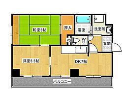 大阪府八尾市小阪合町2丁目の賃貸マンションの間取り
