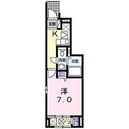 西原8丁目アパート B棟[1階]の間取り
