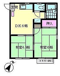 神奈川県横浜市金沢区寺前1丁目の賃貸アパートの間取り