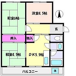 兵庫県神戸市東灘区渦森台1丁目の賃貸マンションの間取り