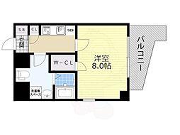 JR東海道・山陽本線 灘駅 徒歩3分の賃貸マンション 2階1Kの間取り
