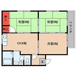 奈良県桜井市外山の賃貸アパートの間取り