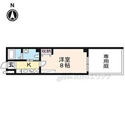 フラッティK&S千本寺之内 1階1Kの間取り