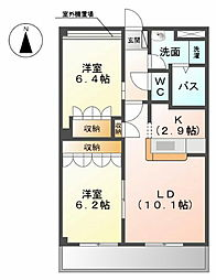 愛知県北名古屋市鹿田南蒲屋敷の賃貸マンションの間取り