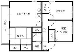 メルベーユ津福A(3LDK)[202号室]の間取り