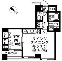都営浅草線 人形町駅 徒歩10分の賃貸マンション 2階1LDKの間取り