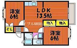 岡山県岡山市東区大多羅町丁目なしの賃貸アパートの間取り