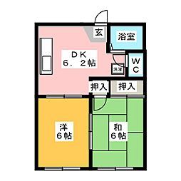 パークハイツ A棟[1階]の間取り