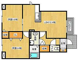 滋賀県草津市追分5丁目の賃貸アパートの間取り