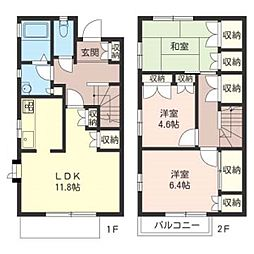 [テラスハウス] 千葉県松戸市常盤平6丁目 の賃貸【/】の間取り