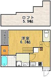 西鉄貝塚線 名島駅 徒歩7分の賃貸アパート 2階2Kの間取り