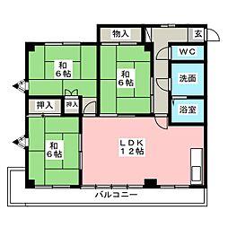 愛知県一宮市松降通8丁目の賃貸マンションの間取り