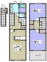 フラワータウン ベルフラワー[2階]の間取り