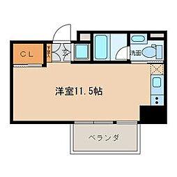 名古屋市営名城線 名城公園駅 徒歩7分の賃貸マンション 8階ワンルームの間取り
