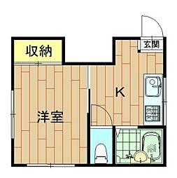 神奈川県川崎市中原区丸子通2丁目の賃貸アパートの間取り