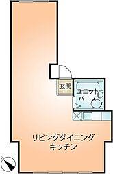 アルカサバ熱海銀座ビル 3階ワンルームの間取り