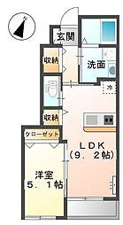 香川県丸亀市新田町の賃貸アパートの間取り