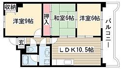 愛知県名古屋市守山区今尻の賃貸マンションの間取り
