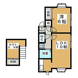宮城県仙台市泉区市名坂字万吉前の賃貸アパートの間取り