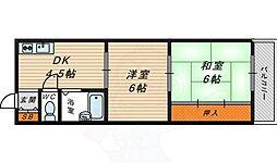 ルーベデンス 2階2DKの間取り