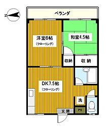神奈川県横浜市保土ケ谷区上菅田町の賃貸マンションの間取り