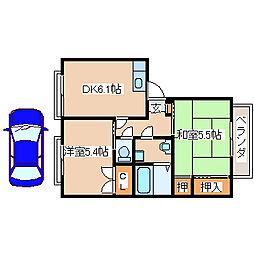 JR山陽本線 明石駅 バス25分 玉津インター前下車 徒歩6分の賃貸アパート 1階2DKの間取り