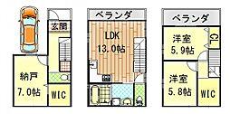 [一戸建] 大阪府東大阪市瓜生堂2丁目 の賃貸【/】の間取り