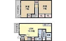 近鉄長野線 滝谷不動駅 徒歩12分の賃貸アパート 1階2LDKの間取り