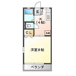栃木県宇都宮市下荒針町の賃貸アパートの間取り