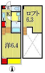 JR外房線 本千葉駅 徒歩7分の賃貸アパート 2階1Kの間取り