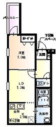 フジパレス中宮3番館 3階1Kの間取り