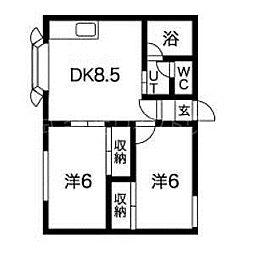 北海道札幌市南区南三十三条西8丁目の賃貸アパートの間取り