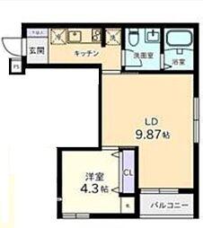 東京都港区白金台3丁目の賃貸アパートの間取り
