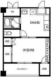 ABEビル 4階1DKの間取り